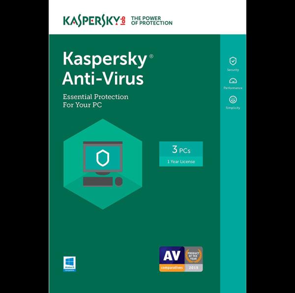 Kaspersky Anti-Virus 2018 - 1-Year / 3-PC - INT