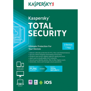 Kaspersky Total Security 2018 - 1-Year / 3-Devices - North America [KEYCODE]