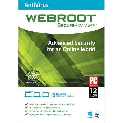 Webroot SecureAnywhere Antivirus - 1-Year / 3-Device