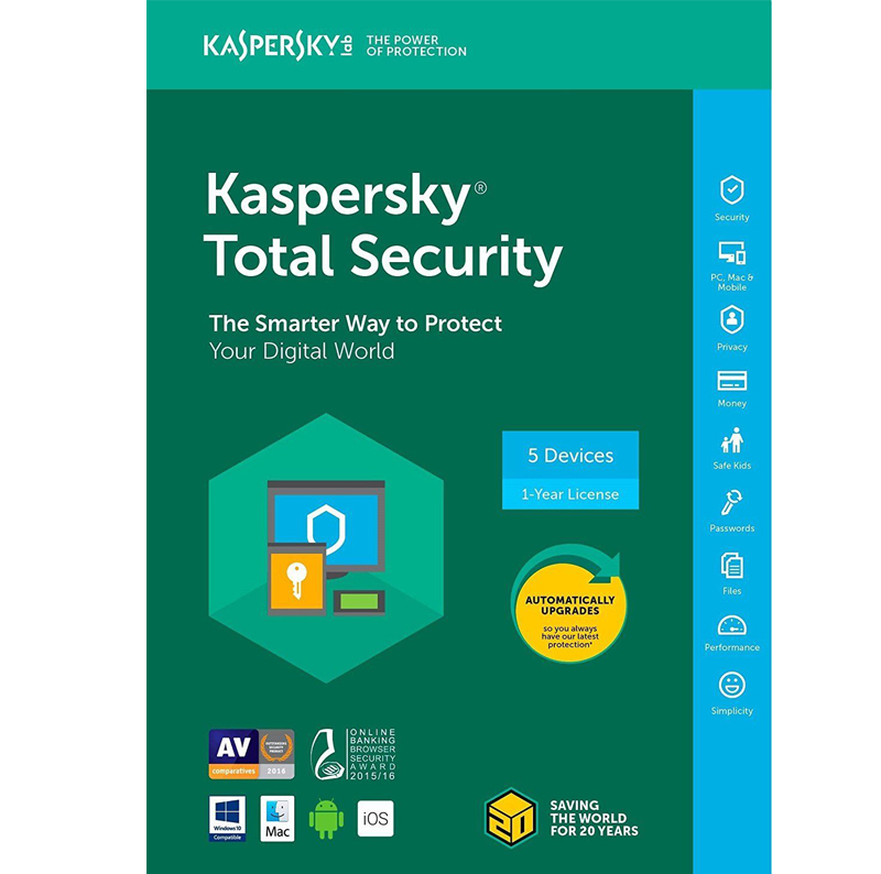 Kaspersky Total Security 2018 - 1-Year / 5-Device - North America